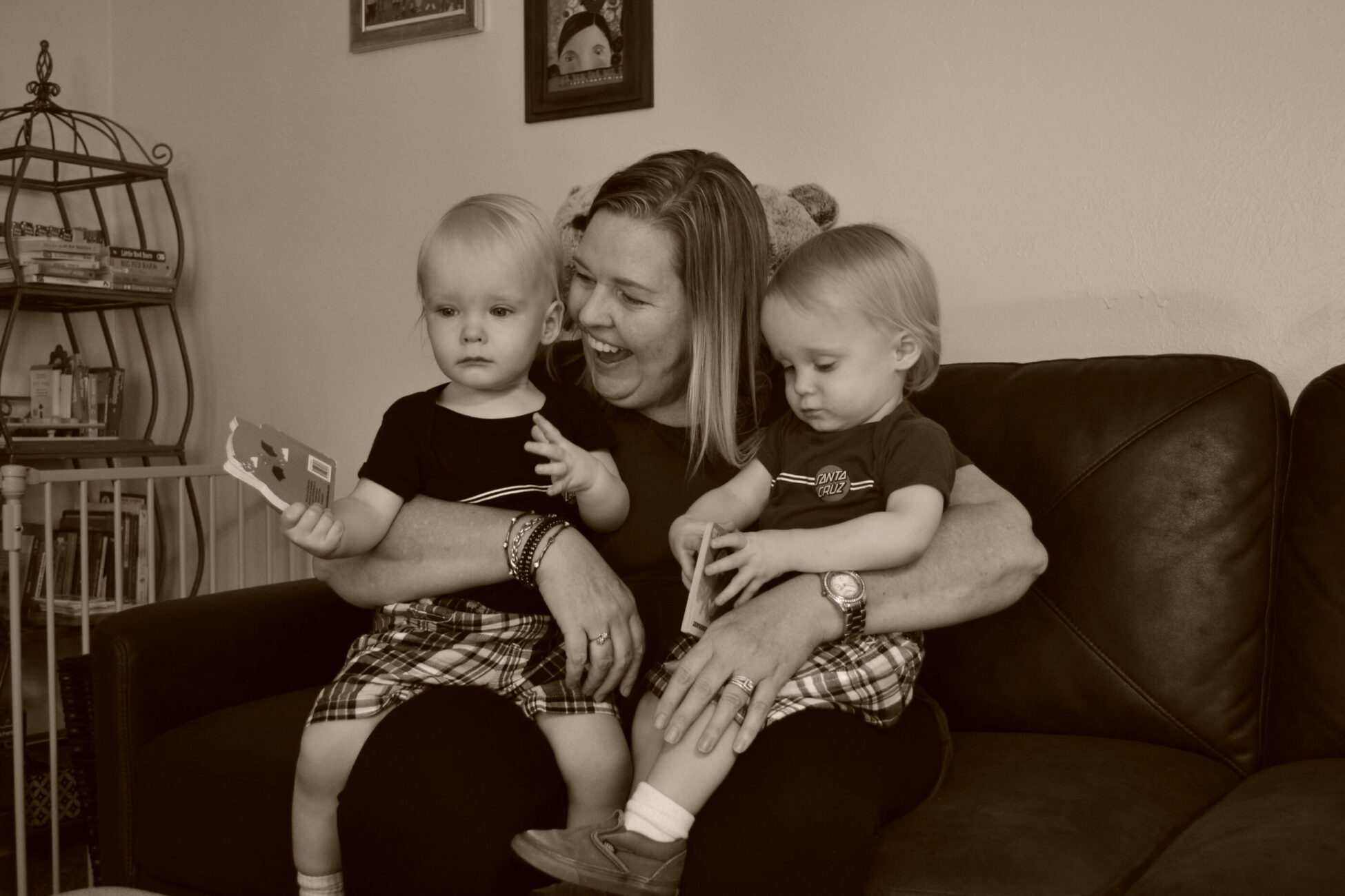 Meg with twins in black and white